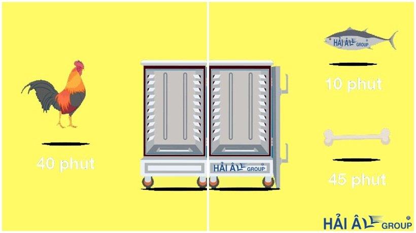 tủ cơm công nghiệp sẽ làm chín các thực phẩm với thời gian khác nhau