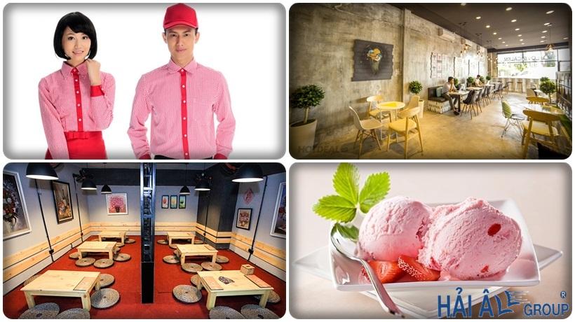 nhân viên phục vụ và không gian cửa hàng kem tươi